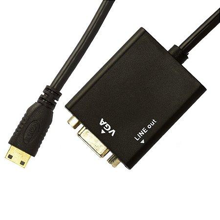 CABO ADAPTADOR MINI HDMI PARA VGA COM ÁUDIO
