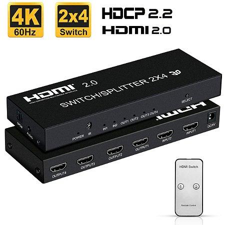 SWITCH/SPLITTER MATRIX 2X4 HDMI 2.0 3D FULL HD