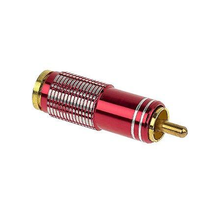 Plug RCA 6MM - Metal Vermelho - Sound Diamond