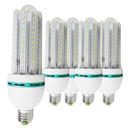 5 Lâmpadas de Led 24W, E27, 6000K, Super Econômica