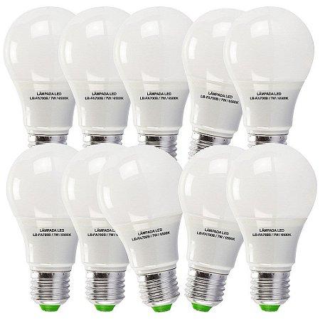 10 Lâmpadas 7W LED Bulbo E27, 6500K, Bivolt - Branco Frio