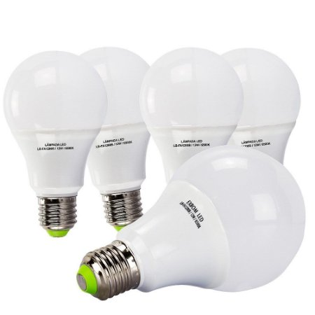 5 Lâmpadas 12W LED Bulbo E27, 6500K, Bivolt - Branco Frio