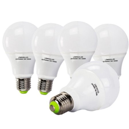 5 Lâmpadas 9W LED Bulbo E27, 6500K, Bivolt - Branco Frio