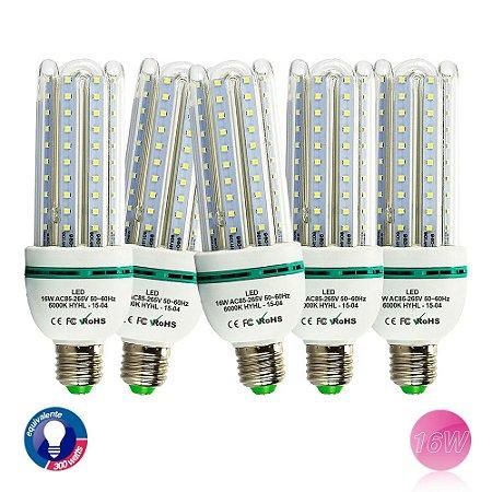 5 Lâmpada de Led 16W, E27, 6500K, Super Econômica