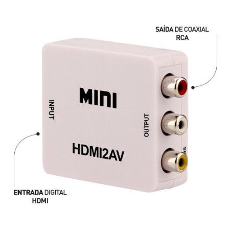 Mini Conversor HDMI para Vídeo Composto (RCA)