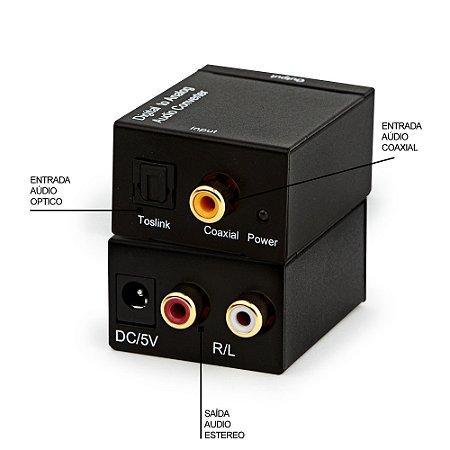Conversor de Aúdio - Digital para Analógico com cabo Óptico