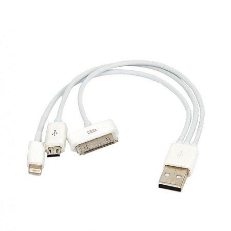 Cabo USB 3 em 1 - Iphone 5, 6, Samsung Galaxy S5, S6
