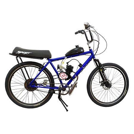 Bicicleta Motorizada Cabeças Bikes Soft Tipo 80cc 2T Aro 26 Banco Mobilete