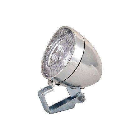 Farol Retrô Cromado com 3 LEDs e Suporte