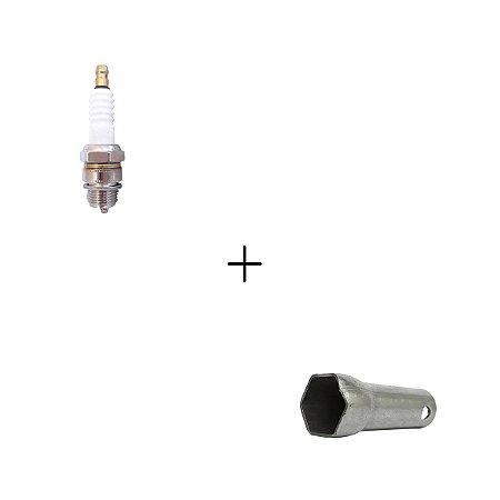 Kit Vela de Ignição para Motorizada + Chave de Vela em Aço