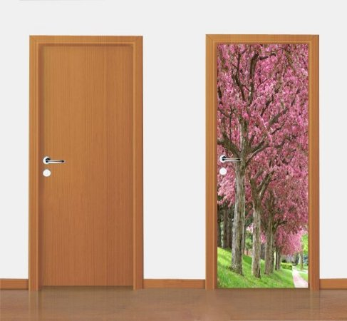 Adesivo para porta -  Árvores de Flores  90X210 cm