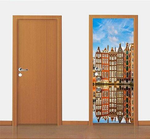 Adesivo para porta -  Edifícios Holandeses   90X210 cm