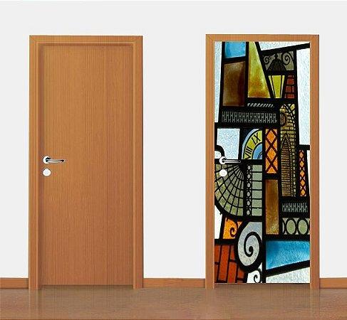 Adesivo para porta - Vitral Abstrato 90 X 210cm