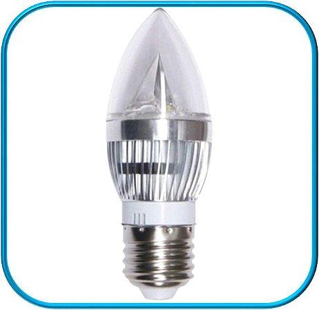 Lâmpada Vela Led Prata E27 3W - Branco Quente