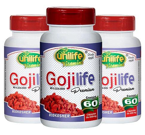 Kit com 3 Goji Life Premium Original 60 caps Unilife