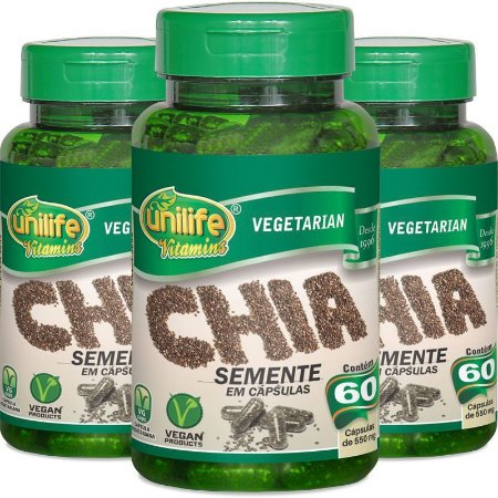 Kit com 3 Potes de Semente de Chia 180 cápsulas (550mg) - Unilife