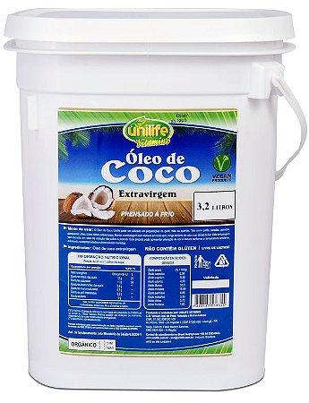 Oleo de Coco Extra Virgem ORGANICO Balde 3,2 Litros Unilife