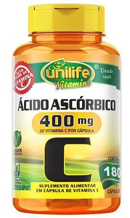 Vitamina C - Ácido Ascórbico 400mg 180 Cápsulas Unilife