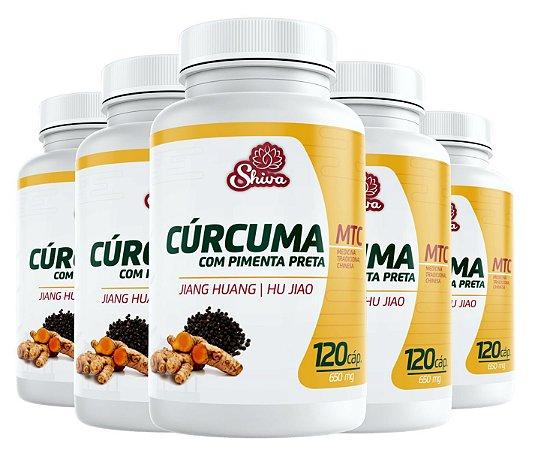 Kit com 5 Curcuma com Pimenta Preta - 600 caps - 650 mg - Shiva