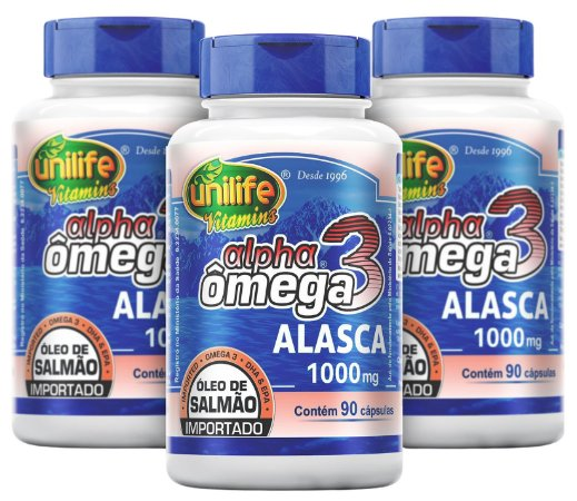 Alpha Ômega 3 Óleo de Salmão - Kit com 3 - 270 Cápsulas – Unilife