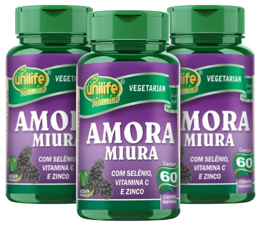 Amora (500mg) Mulberry- Kit com 3 - 180 Caps -  Unilife