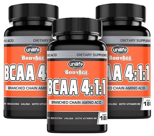 BCAA Unilife Bodyage - Kit com 3 - 540 Capsulas (630mg)