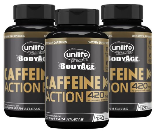 Caffeine Action – Cafeína - Kit com 3 - 360 Cápsulas (700mg) - Unilife