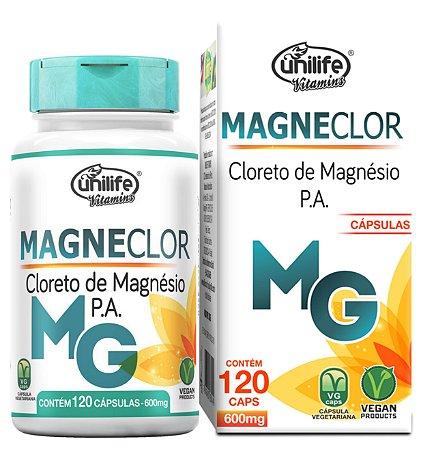 Magneclor - Cloreto de Magnésio P.A. 600mg 120 Capsulas Unilife