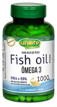 Omega 3 Fish Oil Puro (1000mg) Unilife - 120 Cápsulas