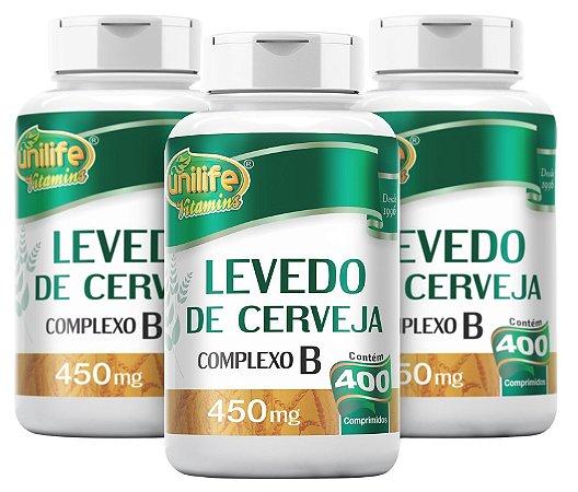 Levedo de Cerveja Unilife Kit com 3 - 1200 comprimidos