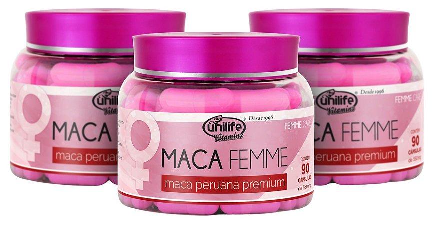 Maca Peruana Premium Femme - Kit com 3 - 270 caps Unilife