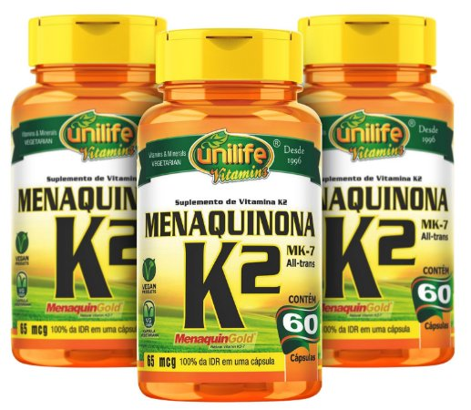 Menaquinona k2-Mk7 - Kit com 3 - 180 caps (500mg) - Unilife