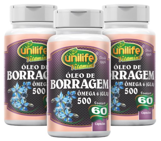 Óleo de Borragem - Kit com 3 - 180 Caps (700mg) - Unilife
