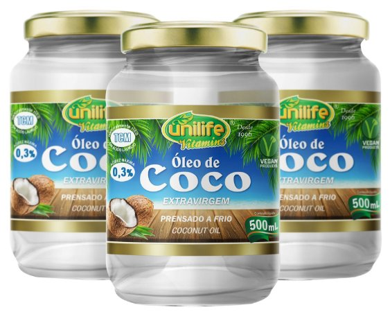 Oleo de Coco Líquido (1500ml) - Kit com 3 - Unilife