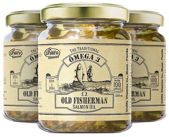 Omega 3 Old Fisherman Salmão - Kit com 3 - 300 Caps Unilife
