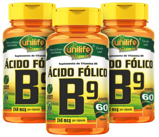 Vitamina B9 Acido Folico - Kit com 3 - 180 Caps (500mg) - Unilife