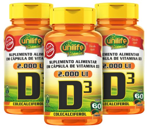 Vitamina D3 - Kit com 3 - 180 Caps (470mg) Colecalciferol - Unilife