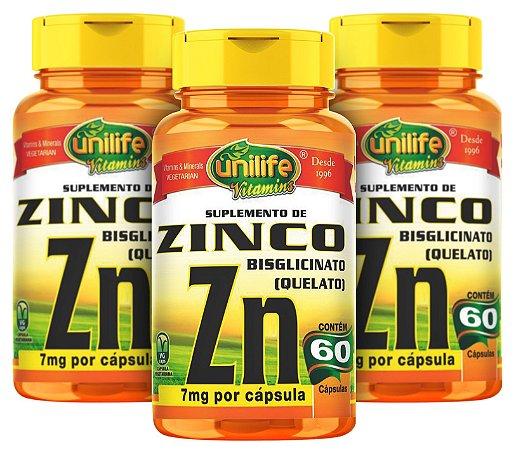 Zinco ZN Quelato - Kit com 3 -  180 Caps (500mg) - Unilife