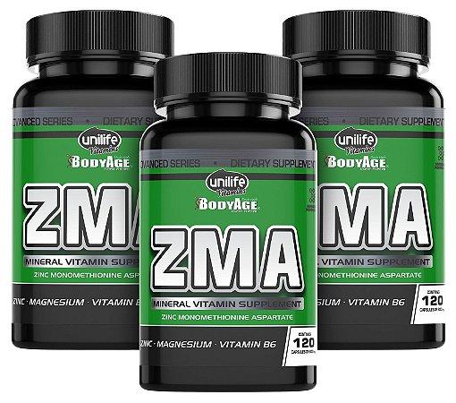ZMA  - Zinco, Magnésio E Vitamina B6 - Kit com 3 - 360 Caps Unilife