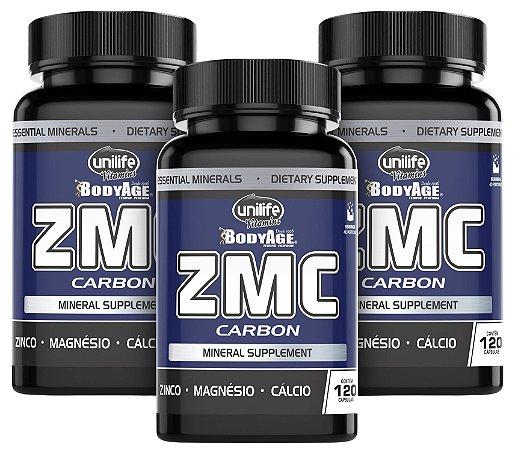 ZMC Carbon - Cálcio, Magnésio e Zinco - Kit com 3 - 360 Caps Unilife