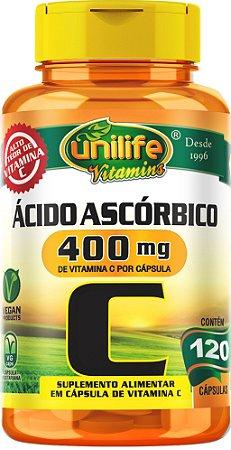 Vitamina C - Ácido Ascórbico 400mg 120 Cápsulas Unilife