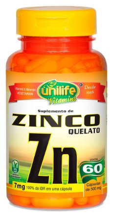 Zinco ZN Quelato 60 cáps (500mg) - Unilife