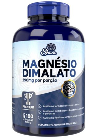 Magnésio Dimalato Premium (290mg) 180 cápsulas - Shiva