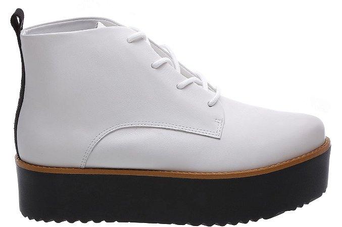 Bota Flatform Atanado Soft Branco