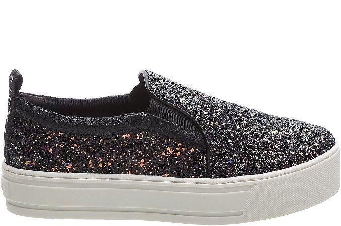 Tênis Malibu Glitter Space Galaxy Preto Sola Alta