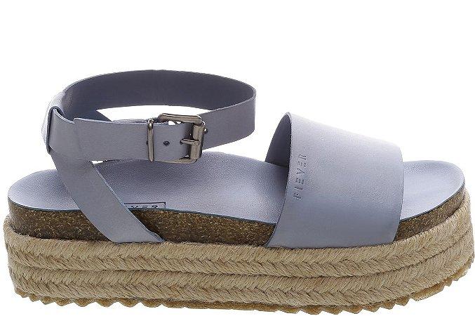 Sandália Flatform Juta Couro Atanado Air Blue