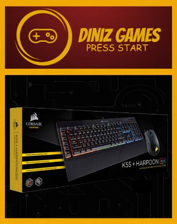 Teclado e Mouse Gamer Corsair RGB ABNT2 Harpoon e K55 OPEN BOX