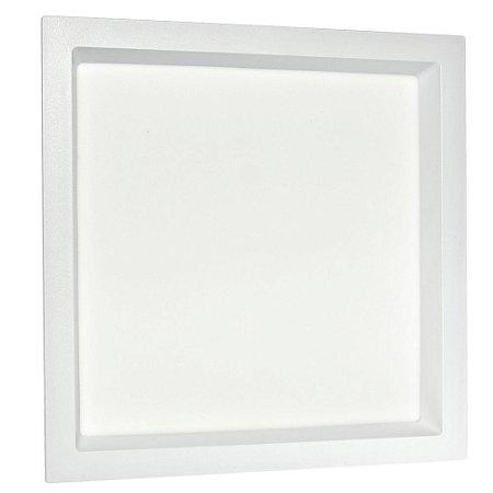 Luminária Plafon 25W LED Embutir Recuado Quadrado Branco Neutro