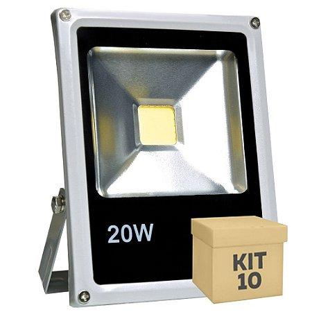 Kit 10 Refletor Holofote LED 20w Branco Frio