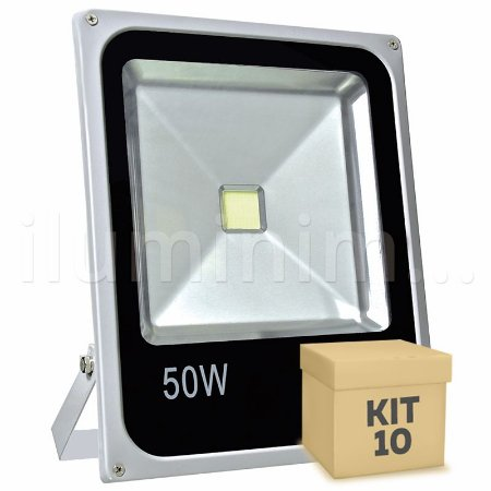 Kit 10 Refletor Holofote LED 50w Branco Frio